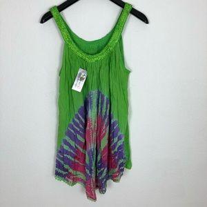 Tops - 3-FOR-$20 - Tie dye green tank top